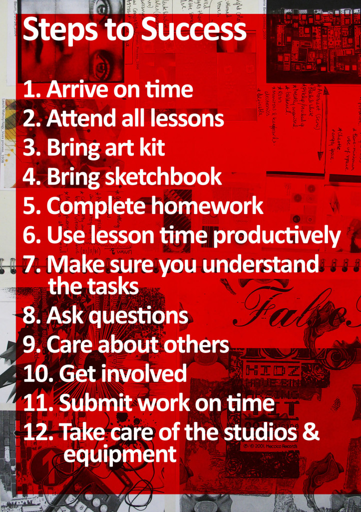 Steps to Success Poster promoting positive practice in art and design education